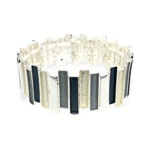 Armband grau weiß breit